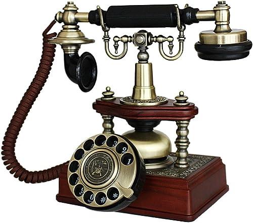 HBWJSH Bois Massif Antique Collection Maison Cadran rougeatif Antique téléphone