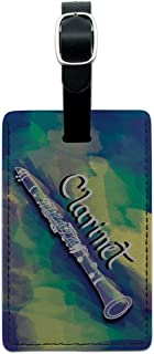 Graphics & More Clarinet Instrument Music Woodwinds Leather Luggage Id Tag Suitcase, Black