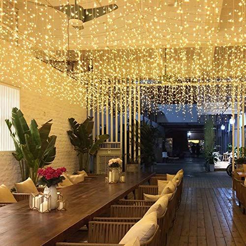 Luccase 120/300 LEDs Lichterketten Vorhang Leuchten Led Vorhang Seil Licht Outdoor Garten Bühne Dekorative für Hochzeit Schlafzimmer Wohnzimmer, 1x3 Meter / 3x3 Meter (A)