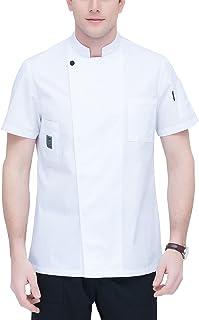 b3ec14386ba Aieoe Uniforme de Cocina Restautante Chaqueta de Chef Camiseta de Cocinero  para Hombre de Algodon Transpirable