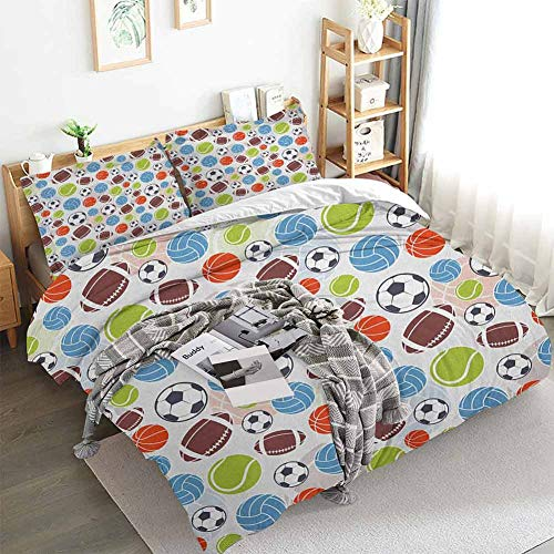 Aishare Store Sport Duvet Cover Set,Sports Balls Pattern Abstract Basketball Football Volleyball Tennis Colorful Elements,Decorative 3 Piece Bedding Set with 2 Pillow Shams,Full(80'x90') Multicolor