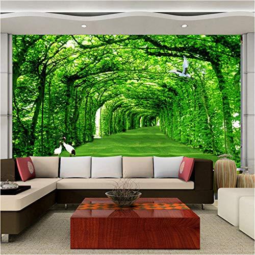 VVBIHUAING 3D Dekorationen Tapete Wandbilder Aufkleber Wand Waldpromenade Grün Wohnzimmer Hintergrund Umwelt Kunst Kinder Küche (W) 300x(H) 210cm