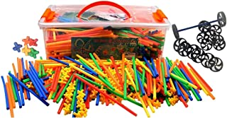 Large 800 Piece Straws Builders Construction Building Toy with Wheels - Giant Pack with Special Colored Connectors by Play...