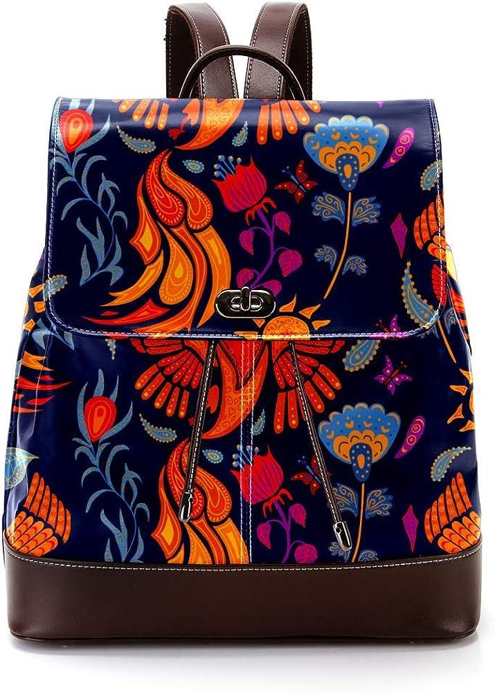 Beautiful Firebird And Blue Flowers PU Leather Backpack Fashion Shoulder Bag Rucksack Travel Bag for Women Girls