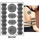 adgkitb 3 stücke Schmuck Tattoo Armband Kette Temporäre Aufkleber Blumen Spitze Aufkleber Kunst Tattoo 20,7x14,6 cm