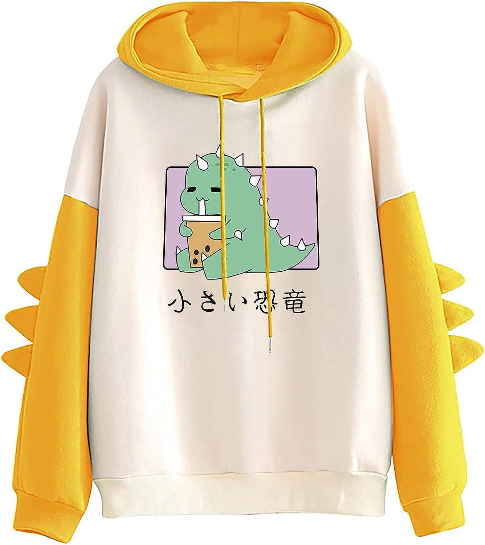 ONHUON Sweatshirts for Women,Women Cute Hoodie for Teen Girl Long Sleeve Kawaii Top Casual Tees Animal Splicing Shirt