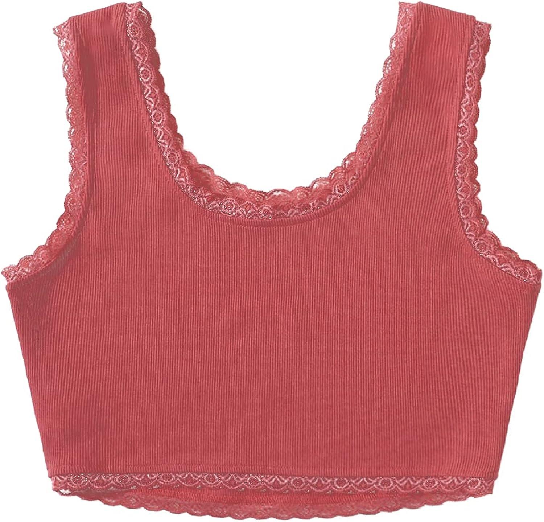 LYANER Women's Cute Lace Trim Ribbed Knit Sleeveless Crop Tank Cami Top