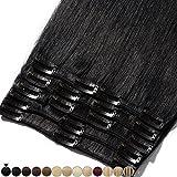 Extension a Clip Cheveux Naturel Noir - Rajout 100% Vrai Cheveux Humain - Volume Moyen 8 Pcs (#01 Noir foncé, 33cm-80g)
