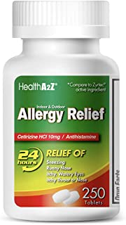 HealthA2Z Allergy Relief, All Day Allergy, Cetirizine HCL 10mg, 250 Count Compare to Zyrtec® Active Ingredient.