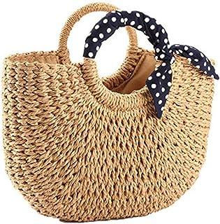 YOUNG-X Handmade Straw PurseHobo Large Tote Natural Vintage Bag, Women Round Handle Ring Rattan Retro handbag Summer Beach (Natural Straw)