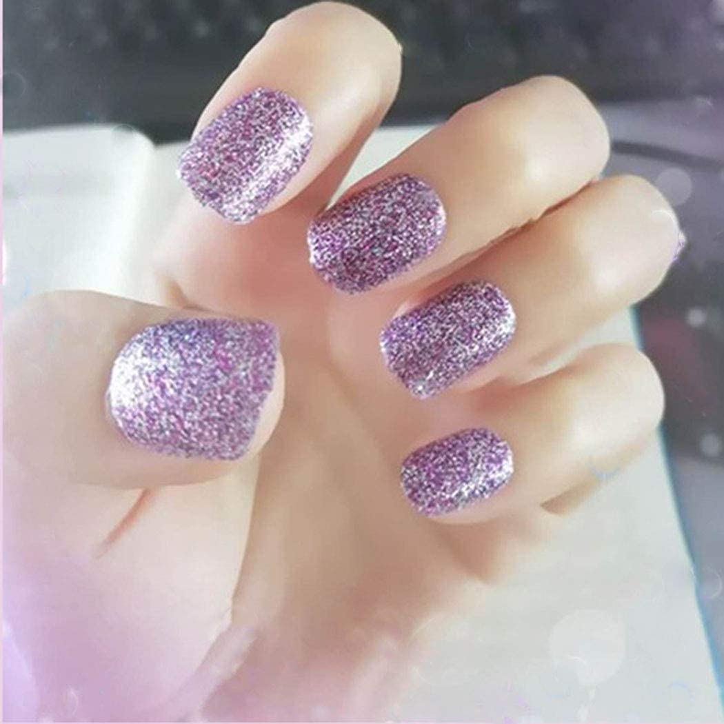 Aularso Square Fake Over Over item handling ☆ item handling Nails Purple Short Fingernail Press on