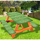 72' Polyester Picnic Table and Bench Fitted Tablecloth Cover Set,Soccer Formation Tactic Goalkeeper Strikers and Defenders Match Pattern Tablecloth Fits 6 ft Picnic Tables for Camping,Dining