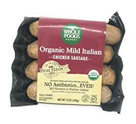 Whole Foods Market, Chicken Sausage Italian Mild Organic Step 3, 12 Ounce