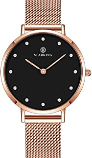 STARKING Watch Women's Minimalist Ultra Thin Rose Gold Watch Analog Quartz Stainless Steel Mesh Watch