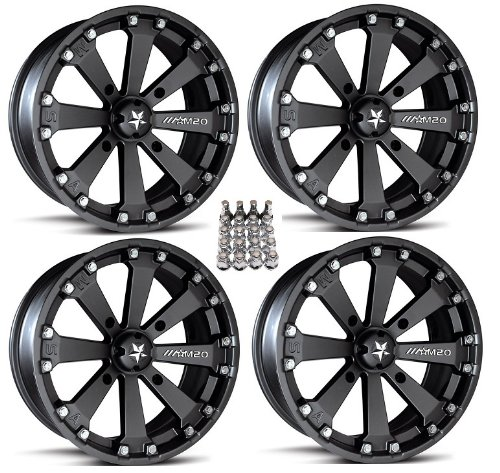 "MSA M20 Kore ATV Wheels/Rims Black 14"" Honda Foreman Rancher SRA"