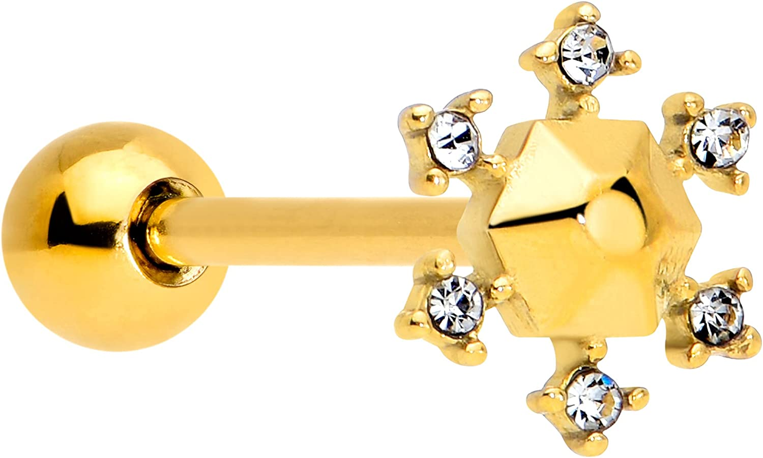 """Body Candy 14G Women PVD Steel Clear Accent Snowflake Barbell Tongue Ring Body Piercing Jewelry 5/8"""""""