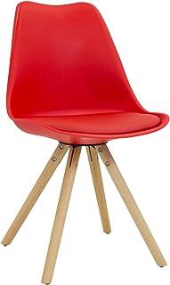 Vaukura Silla Tulip Star - Silla Nórdica de Comedor (Rojo)