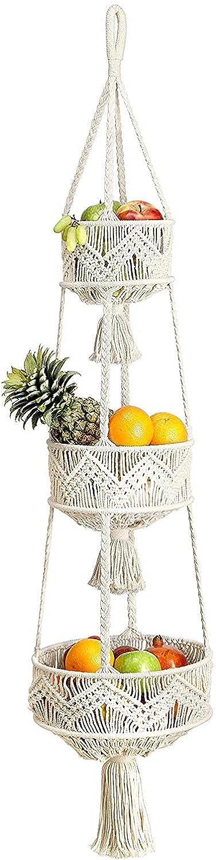 3 New mail order Kansas City Mall Tier Hanging Fruit Kitchen Basket For Macrame