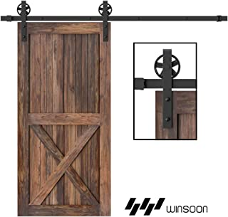 WINSOON 5-16FT Single Wood Sliding Barn Door Hardware Basic Black Big Spoke Wheel Roller Kit Garage Closet Carbon Steel Flat Track System (5FT)