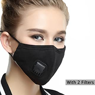 Mask Washable Cotton Mouth Masks with Valve Replaceable Filter (One Mask + 2 Filters) Activated Carbon Dustproof/Dust Mask - Pollen Allergy, PM2.5, Running, Cycling, Outdoor Activities - Women Black