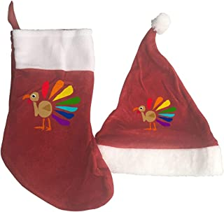 Cool Funny Colorful Turkey Art Cartoon Party Celebration Xmas Hat and Stocking Gift