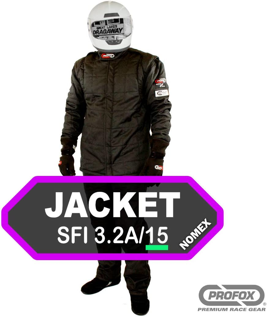 DRAG RACING FIRE SUIT JACKET 1 LAYER  SFI 1 RACE SUIT SFI 3-2A//1 BLACK LARGE