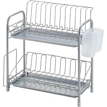 パール金属 食器 水切り かご スリム 2段 シンプル・ウェア HW-7302