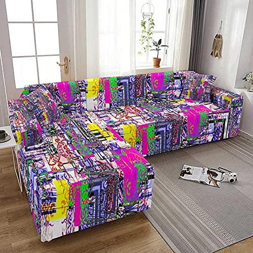 WXQY Funda de sofá elástica para Sala de Estar Todo Incluido Spandex Funda de sofá en Forma de L Fundas para sofá Fundas para sillones Funda para sillones A4 1 Plaza