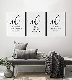 Nursery Bible Verse Set of 3 Prints, Scripture Art, Child of God, She is More Jewels, She is Clothed in Stren-40x60cmx3Pcs...
