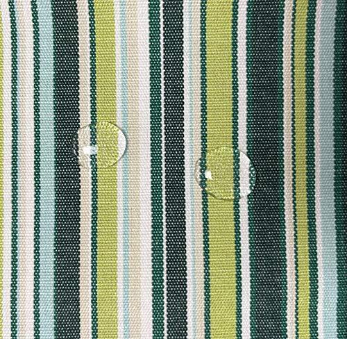 Byour3 Tela al metro de tela impermeable de tela para toldos de sol, cojines, balancín al metro, porche, balcón, lonas laterales, cenador, caravana, toldo de barco (verde multilínea, ancho 160 cm)