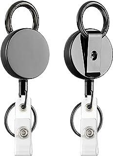 VIQWYIC Bobine de porte-badge rétractable robuste, porte-badge d'identification en métal avec fermoir à griffes et porte-c...