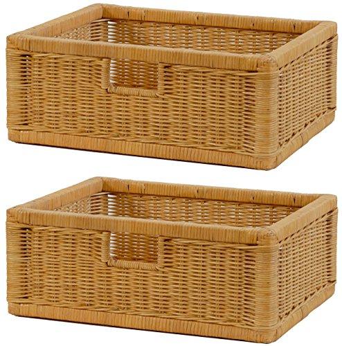 Stabiles Set 2 Regalkorb mit Holzrahmen aus echtem Rattan/Schübe mit Griff 43x32x17cm Schubfach Regal Korb