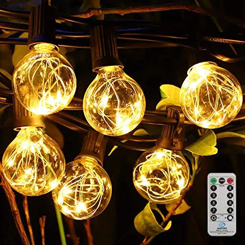 Lichterkette Außen Glühbirnen,8.5M 30er G40 LED Garten Lichterkette Mit Timer Fernsteuerung,LED Lichterkette Balkon Außen Warmweiß IP44 Wasserdicht Innen/Außen Deko Licht für Balkon Zelt Café Hochzeit