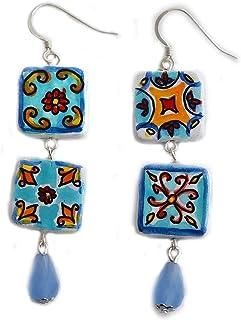 Orecchini in ceramica dipinti a mano – MAIOLICA AZZURRA VIETRI - Orecchini pendenti da donna, Gioielli in ceramica dipinta...