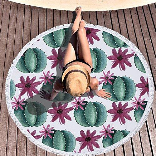 Toallas de Playa Redonda de Microfibra con Borlas, Chickwin Grandes de Antiarena Toallas Baño Secado Rapido Manta Playa Toalla Yoga Deporte Gimnasio para Mujer (Diámetro 150cm/59,Cactus)