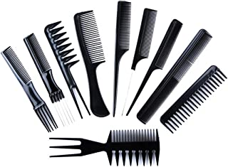 10PCS Hair Care Combs Hair Stylists Professional Anti-Static Coarse Fine Toothed Tail Teasing Waves Pick Combs Salon Teasi...