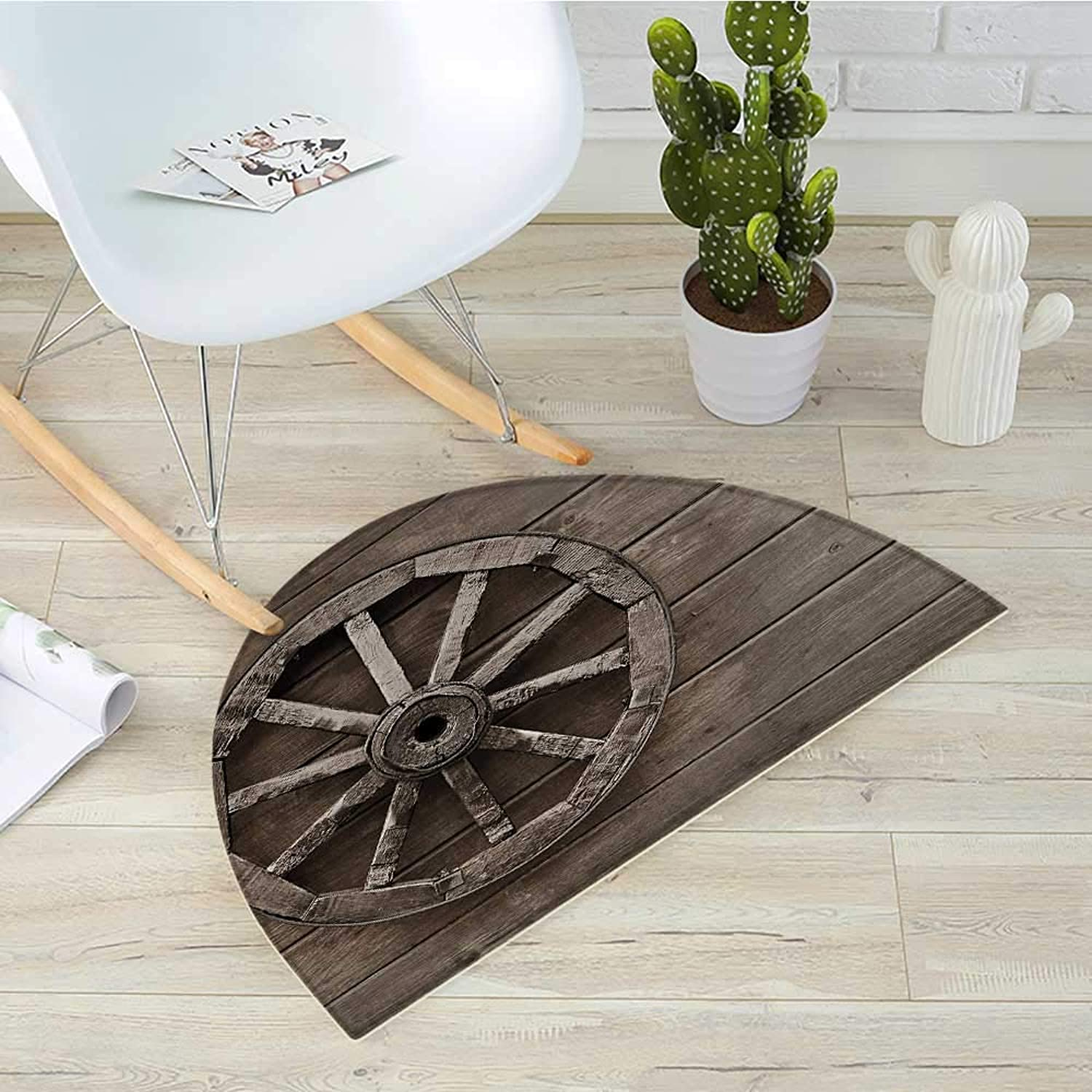 Barn Wood Wagon Wheel Half Round Door mats Antique Aged Carriage Vehicle Wheel on The Wall of Barn Grunge Western Bathroom Mat H 39.3  xD 59  Umber