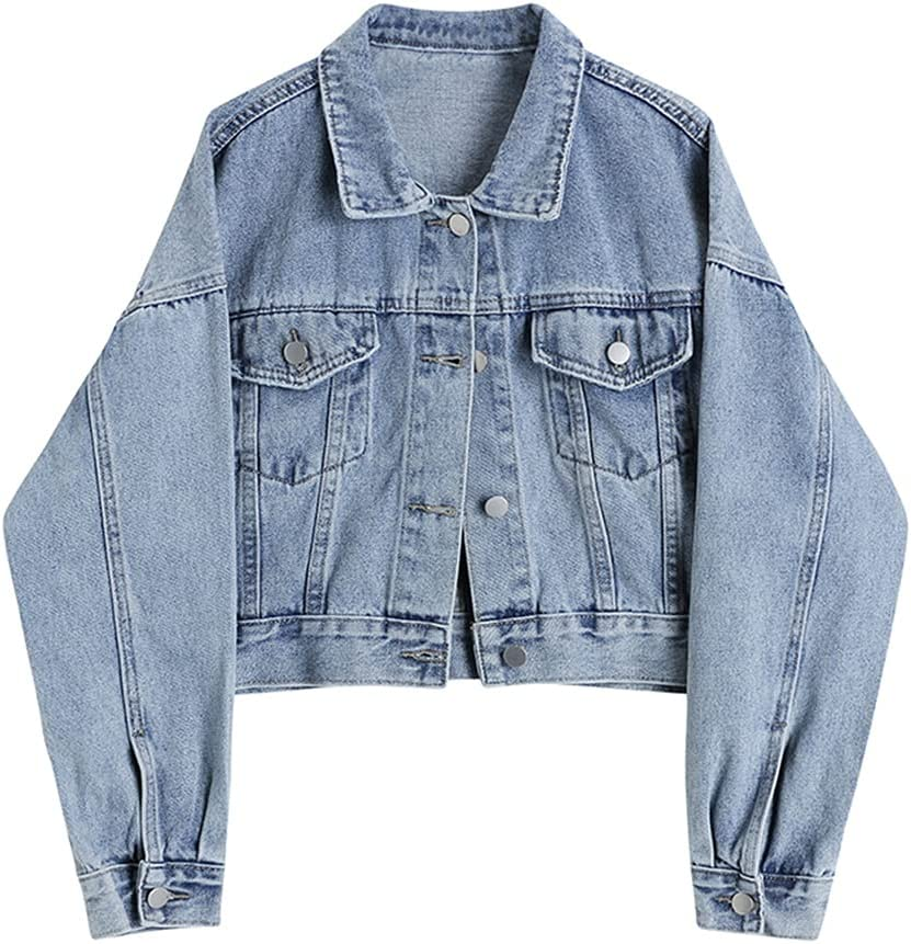CDQYA Jean Jacket Women Clothes Short Denim Female Jacket Coat Korean Coats Spring Fall Jackets for Women Solid Casual Streetwear (Color : Blue, Size : S Code)