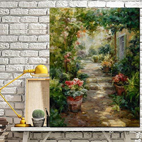 N / A HD Print Abstract Pastoral Gartenhaus Landschaft Ölgemälde auf Leinwand Moderne benutzerdefinierte Poster Kunst Wandbild für Wohnzimmer 60X90CM NO Rahmen
