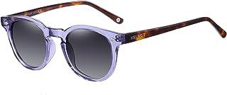 H HELMUT JUST - Gafas De Sol Para Mujer Hombre Polarizadas Vintage Ovalada Depp style Tr90 Y Acetate HJ1006