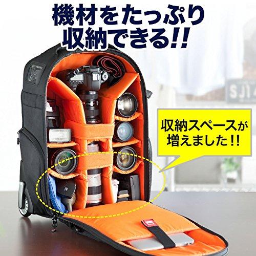 サンワダイレクトカメラバッグキャスター付キャリー&リュックの2way一眼&レンズ収納13型PC対応南京錠対応大容量200-DGBG003