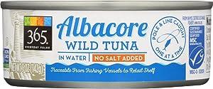 365 Everyday Value, Wild Albacore Tuna in Water, No Salt Added, 5 oz