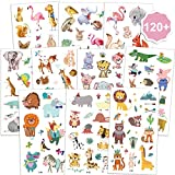 Qpout Animal Temporäre Tattoos für Kinder (130 + Stk.), Zoo Jungle Tiere Tattoos Körperkunst...