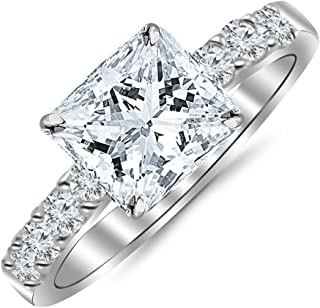 2 Carat GIA Certified Princess Cut Classic Prong Set Diamond Engagement Ring (I-J Color VS1-VS2 Clarity Center Stones)