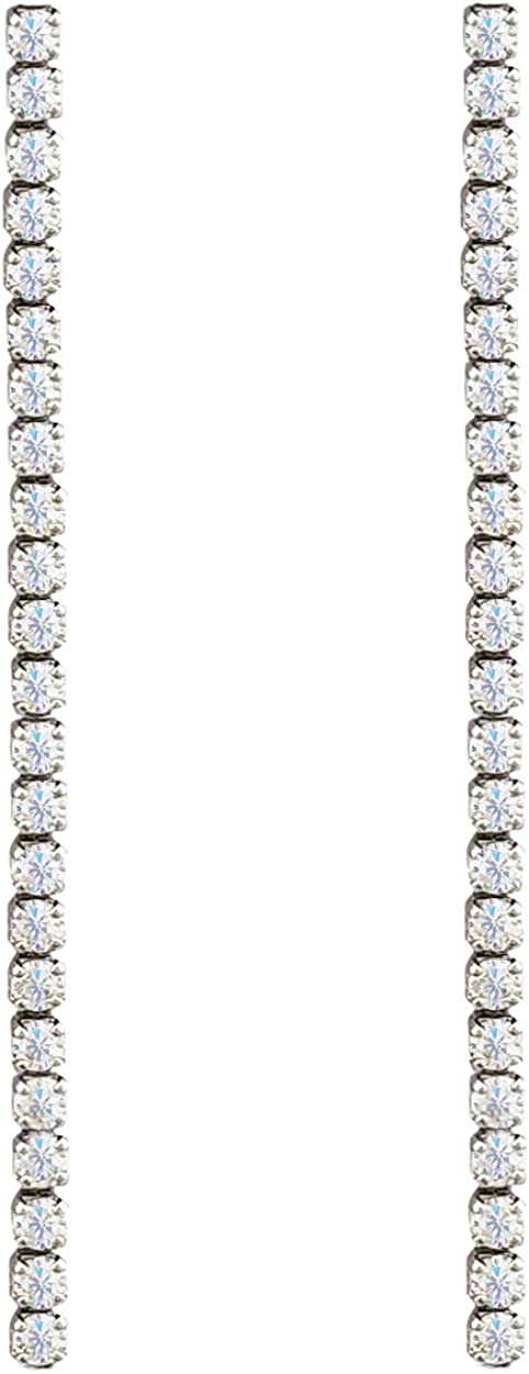 SELOVO Statement Dangle Chain Line Earrings Clear Cubic Zirconia Bridal Jewelry