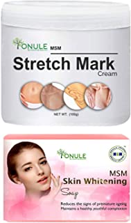 Ionule MSM Stretch Mark Cream with Skin Whitening Soap for Men and Women Combo Pack of 2 - (2 X 90 gm)