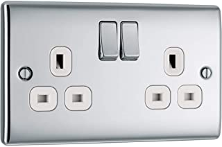 BG Electrical Double Switched Power Socket with White Inserts, Polished Chrome, 13 Amp