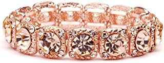 Mariell Rose Gold Blush Crystal Stretch Prom or Bridesmaid Bracelet - Popular Pink Morganite Color