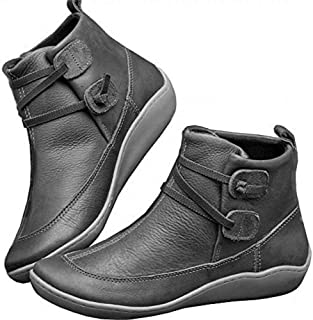 Womens Ankle Boots Waterproof Cofy Lightweight Ankle Boots Stacked Slip On Short Casual Walking Booties