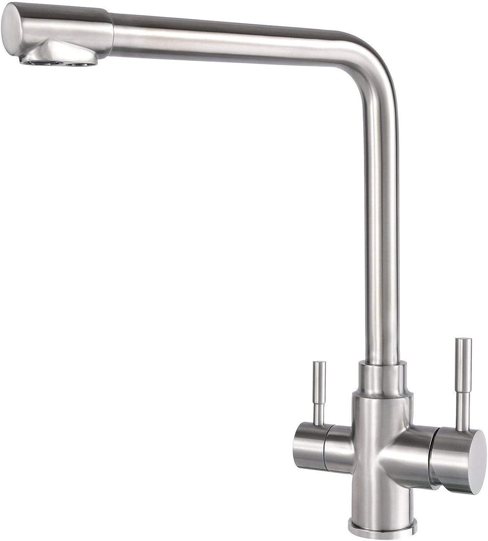 Marcu Home Wasserhahn Wasserhahn 3-Wege-Wasserfilter Tapss Edelstahl Schwenkauslauf Reines Trinkwasser Spültischarmaturen
